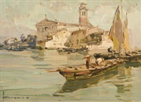 venezia, pescatori in laguna by angelo brombo