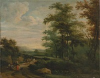 travelers on a path by martinus de la court