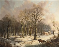 wood gatherers with a horse drawn sleigh and a hunter in a wintry forest by gerrit hendrik gobell