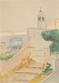 vue de sidi bou saïd (+ 3 others, lrgr; 4 works) by louise marie peyre