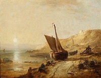 coastal scene from the isle of wight by edward william cooke