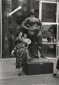 woman shaking pebble from her shoe, moma garden, gaston lachaise sculpture, nyc by ruth orkin