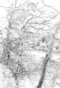 cottages seen through woodland by william ratcliffe