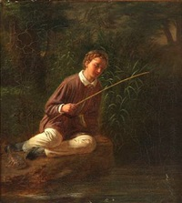 a young boy fishing by ludwig august smith
