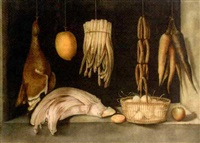 sausages, carrots, asparagus, dead game and a lemon hanging above a basket of eggs and celery by paul karslake