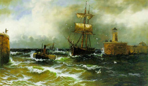 ship in a stormy harbor by calvin fletcher