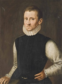 portrait of a gentleman, half-length, in an embroidered doublet and lace ruff, his right hand on a table by frans pourbus the younger