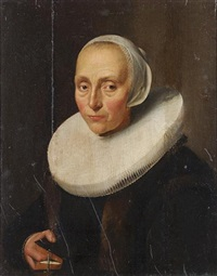 portrait of a lady, half-length, in black, fur-trimmed costume with a white ruff and lace cap by isaac colonia