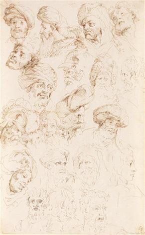 verschiedene köpfe (studies after raphael) by michel corneille the younger