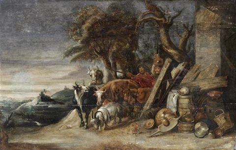 drovers and cattle on a country path before an open landscape by sir peter paul rubens