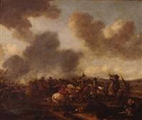 combat de cavalerie et d'infanterie ou le coup de lance by pieter wouwerman