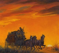 two men on stagecoach, one with rifle looking back by harold winfield scott