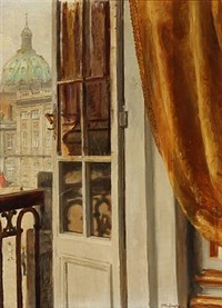 forstudie til kong frederik viii's portræt. study for the portrait of king frederik viii of denmark; view from frederik viii's palace at amalienborg towards the marble church in copenhagen by otto bache