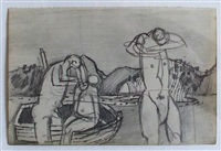 three figures with a boat by keith vaughan