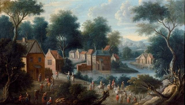 paysage de rivière animé de nombreux personnages by maximilian blommaerdt