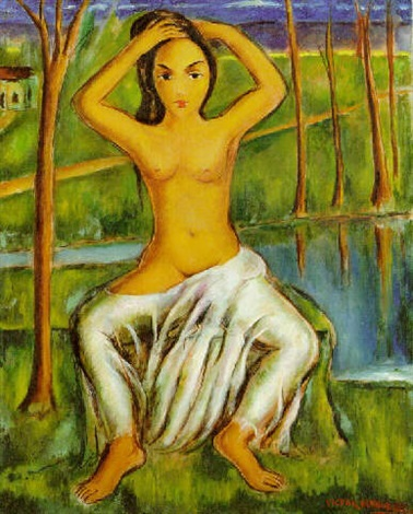 desnudo frente al río by victor manuel