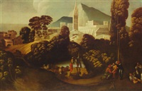 landscape with courtiers, shepherds and their flocks and  flute players with buildings and a church in the background by battista (de luteri) dossi