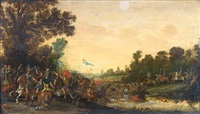 a cavalry skirmish at a river crossing by jan de martszen the younger