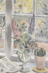 lupins and cactus by paul nash