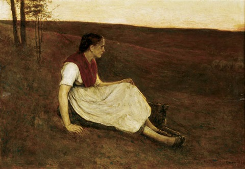 shepherdess with dog at dusk by alexander theodore honore struys