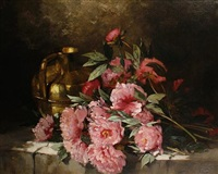 peonies and a pitcher on a ledge by paul gagneux