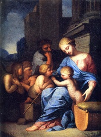 la sainte famille entourée de saint jean baptiste enfant et deux anges by lubin baugin