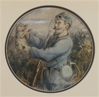 sketch of soldier with a piglet by thomas nast