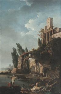 marine avec soldats au pied de ruines antiques by jean henry d' arles