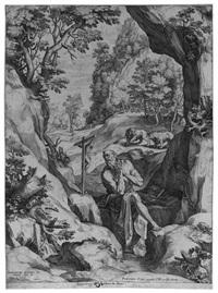 san gerolamo penitente nel deserto by cornelis cort