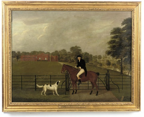 portrait of dr tremlow mounted on a chesnut hunter with a hound before a gate marbury hall beyond by john bryan