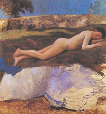jeune homme nu sur lherbe by frédéric bazille