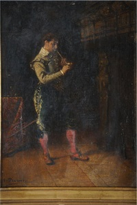 personnage s'allumant une pipe by charles percus