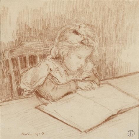 jeune fille à la lecture by georges lemmen