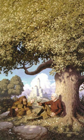 jrr tolkein and hobbit relaxing under big tree castle in background by greg tim hildebrandt brothers
