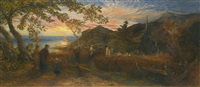 old england's sunday evening by samuel palmer