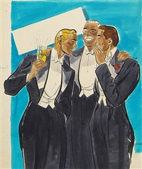 three men in formal attire, one holding a drink by earl oliver hurst