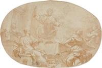 le repas du christ et des pèlerins d'emmaüs by domenico piola