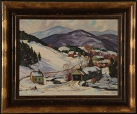 a vermont landscape scene complete with a covered bridge and the green mountains in the distance by robert shaw wesson