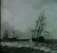 ships in a breezy sea by franciscus xavery
