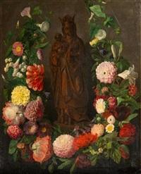 vierge à l'enfant dans une guirlande de fleurs by simon saint-jean