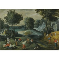 an allegory of summer with two signs of the zodiac: a village landscape in summer with peasants harvesting by abel grimmer