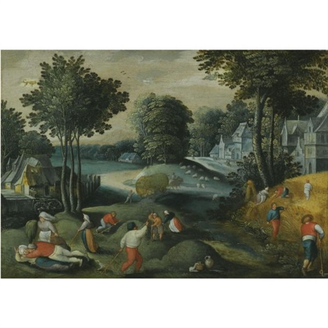 an allegory of summer with two signs of the zodiac a village landscape in summer with peasants harvesting by abel grimmer