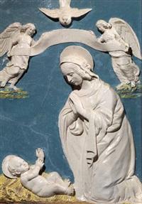 madonna in adorazione del bambino tra due angeli recanti un cartiglio by benedetto buglioni