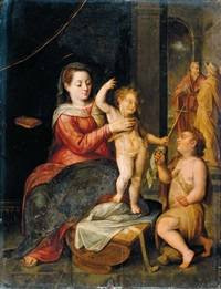 the virgin and child in a classical setting, st. john the baptist kneeling nearby by bernaert de ryckere
