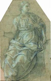 femme assise regardant vers la droite (+ homme nu, study; double-sided) by girolamo siciolante da sermoneta