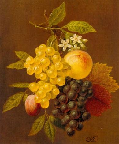 stilleven met druiven en perziken by arnoldus bloemers
