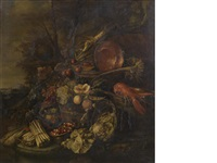 a still life of a bunch of asparagus, bowls of wild strawberries, a basket of fruit, lettuces, a lobster in a wooden pail and a copper pan beneath a stone sculpture in a wooded landscape by pieter de ring