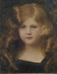 portrait de jeune fille en robe noire by aime nicolas morot