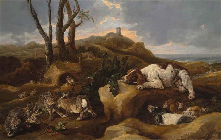 spaniels stalking hares among dunes, in a coastal landscape by jan fyt