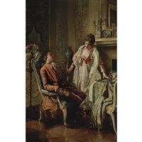 couple in a salon interior by wilhelm kreling